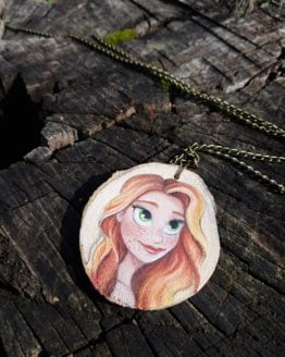 Green-Eyed Girl Wooden Necklace