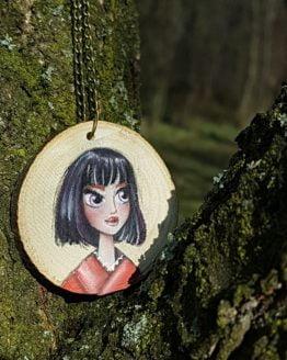 Red Lips Wooden Necklace