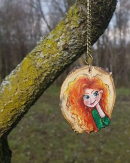 Disheveled Redhead Wooden Necklace