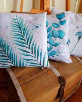 turquoise leafs and flowers 3 pieces cotton canvas pillow cover