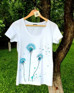 dandelions in the wind hand painted woman t-shirt