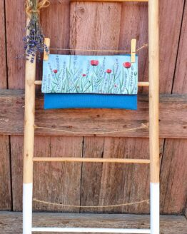 poppy and lavender hand painted letter bag