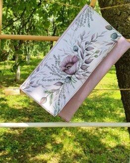 purple poppy flower hand painted letter bag