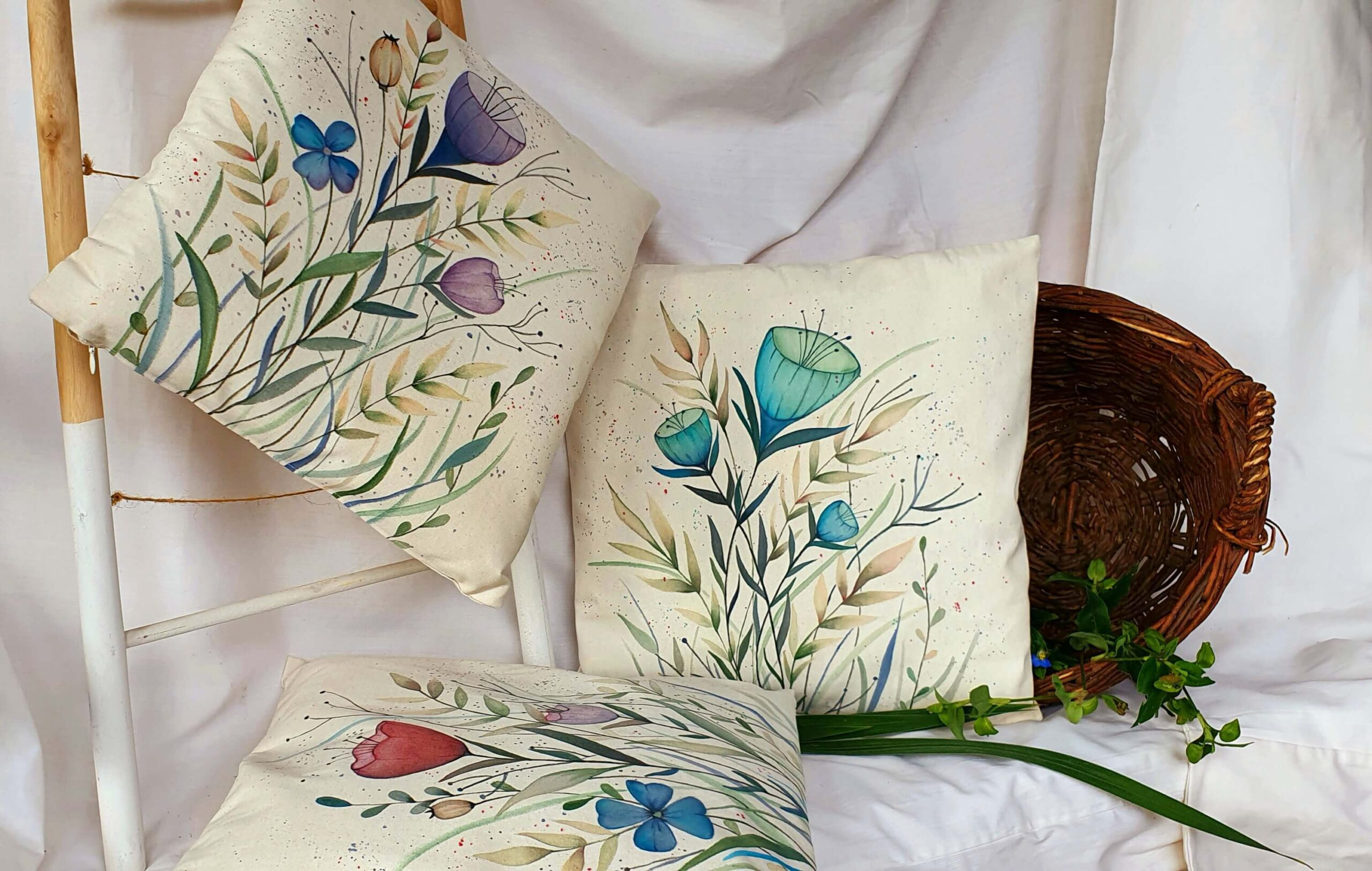 Colorful Flowers 3 Pieces Cotton Canvas Pillow Cover My Story