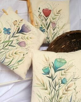 colorful flowers 3 pieces cotton canvas pillow cover 2