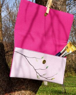 magnolia hand painted letter bag open