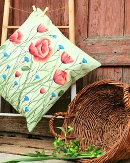poppy and cornflower canvas pillow cover